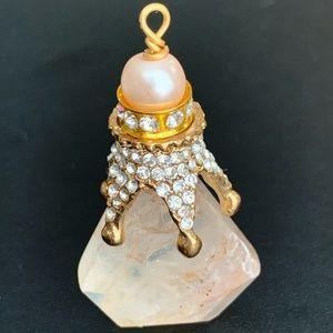Rose Quartz, Pearl,White Topaz & 10k Gold Pendant